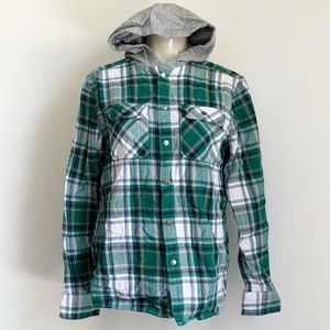 H&M Green Checkered Kids Hooded Long Sleeves Polo